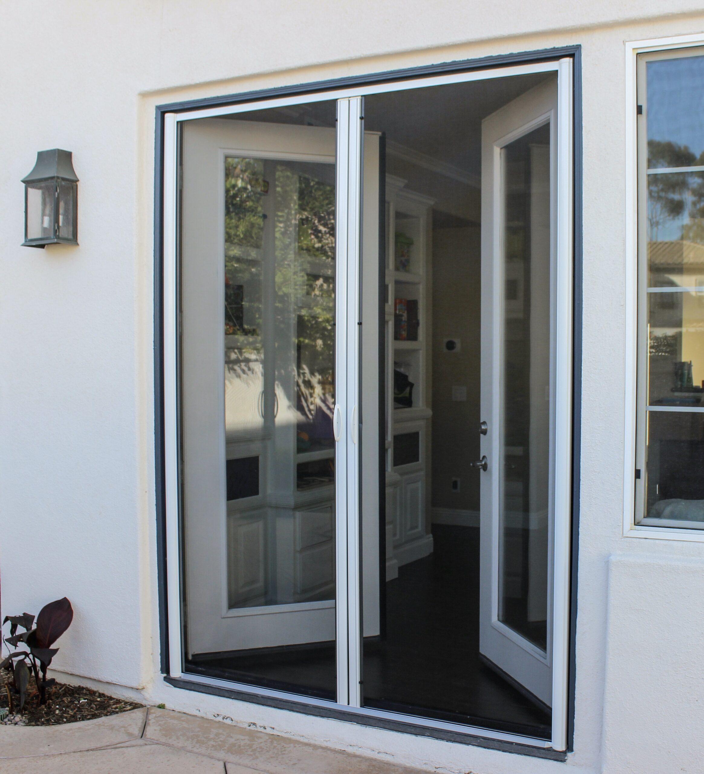 French retractable screen door
